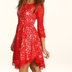 FREE PEOPLE RED HOT FLORAL LACE DRESS SZ 2